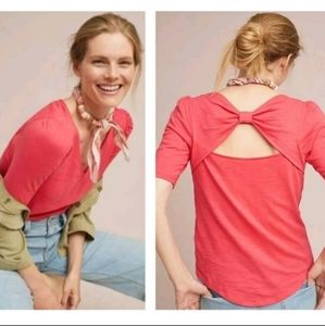 {ANTHROPOLOGIE} Meadow Rue Bow Back Tee